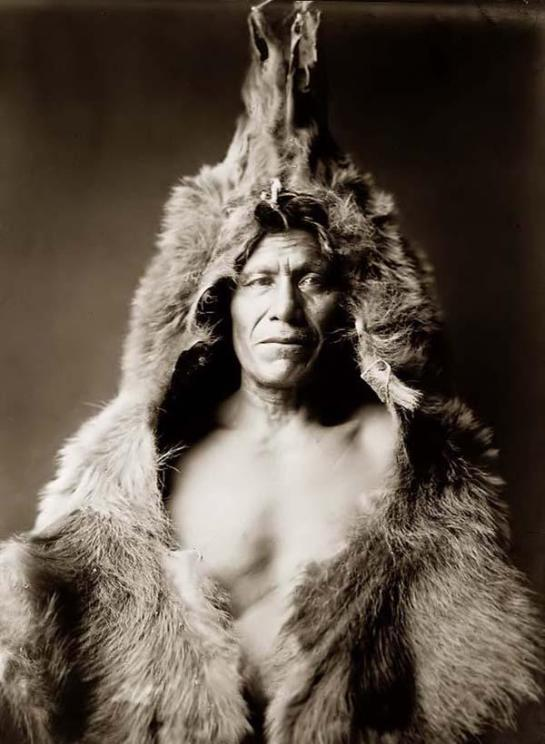 Bears Belly, an Arikara indian man in a Half-length Portrait. It was taken in 1908