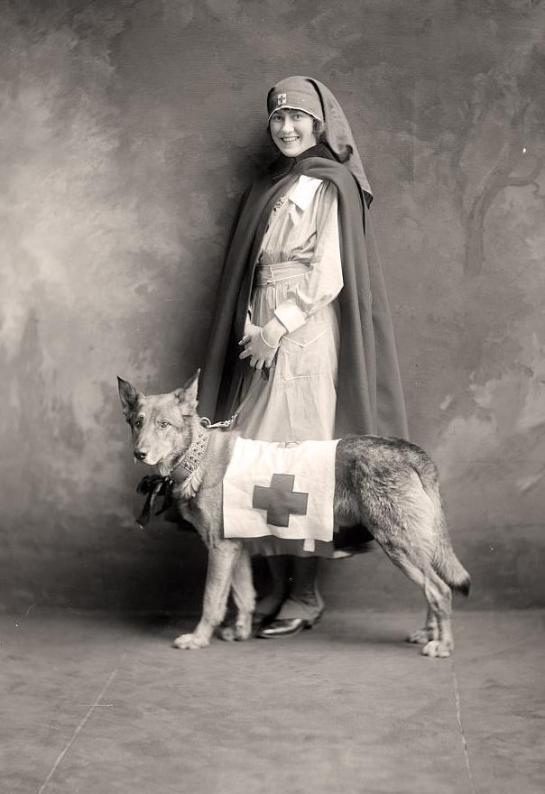 A nurse and her rescue dog - circa 1930