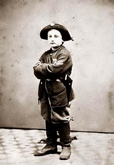 six or seven years old. His is wearing a uniform. It appears that he is a combat soldier, wearing a Colt Revolver. It was created between 1860 and 1865