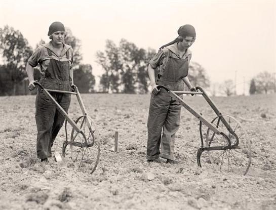 National Emergency War Gardens Com. Farmerettes. Women were encouraged to produce food for World War I. 1919