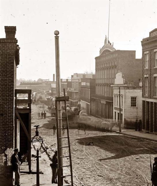 Atlanta, Georgia. View on Marietta Street. It was made in 1864 by Barnard, George N., 1819-1902