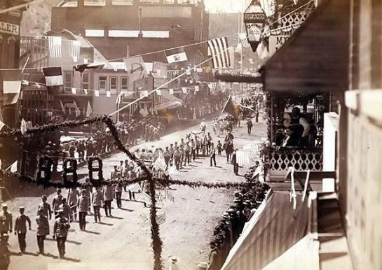 People of Deadwood celebrating completion of a stretch of railroad. It was made in 1888