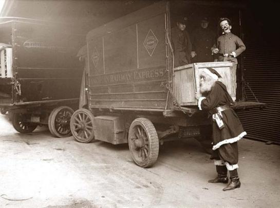 Santa - Loading a railway car