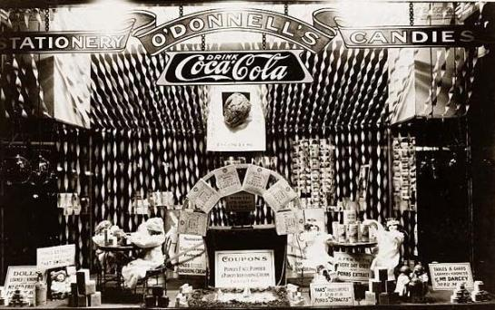 Window display featuring Pond's Extract products in O'Donnell's drugstore, probably in Washington, D.C. It was taken in between 1909 and 1932.