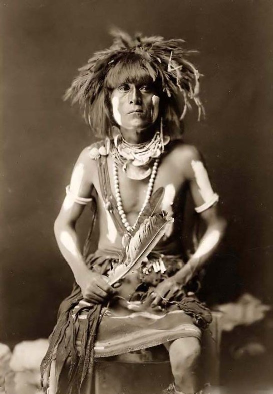 Honovi-Walpi, a Hopi Snake Priest, with Totkya. It was made in 1910