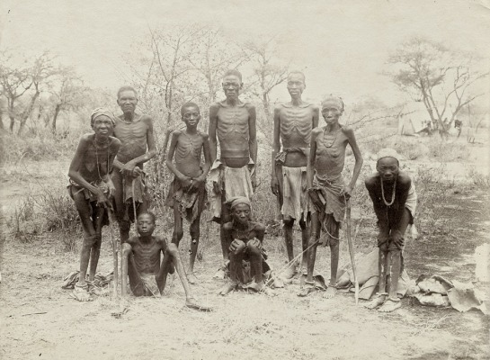 A group of South West African Herero people, starving after fleeing from their German rulers, 1907.