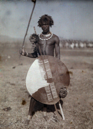 Autochrome of an armed Swazi warrior, Cape Town, South Africa, 1930.