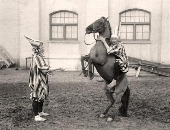 Clowns and Horse. It was made between 1915 and 1917