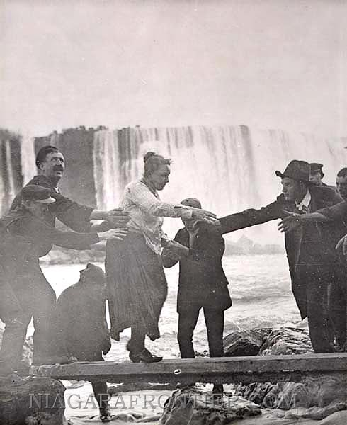 On Monday October 21st 1901, Mrs. Annie Edson Taylor shot the Horseshoe Falls this afternoon and survived,