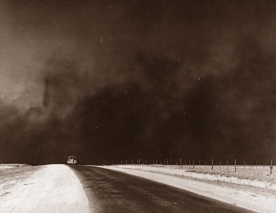 The picture was taken in 1936 in the Texas Panhandle.