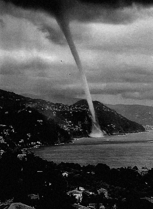 vintage tornado on beach
