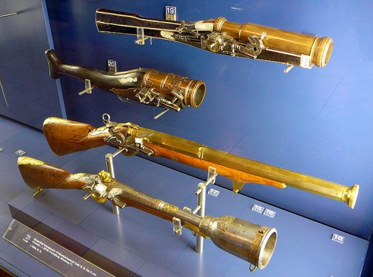 German grenade rifles from the 16th century (wheellock) and 18th century (flintlock) in the Bayerisches Nationalmuseum, München