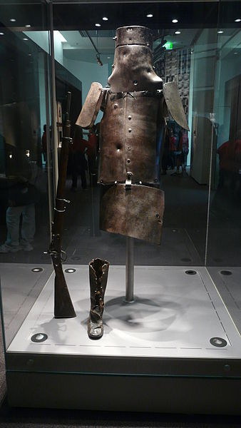 Ned Kelly armour, located at the State Library of Victoria, Melbourne, Australia,