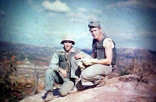 Two American GIs wearing M1951 bullet-proof vests on Triangle Hill