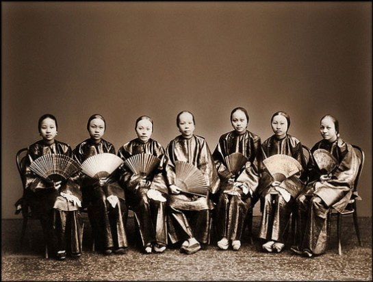 Chinese women with fans, Canton, China [c1880] Afong Lai