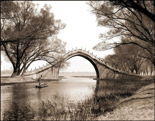 Jade Belt Bridge & boat, Summer Palace, Peking, China [c1924] Sidney D. Gamble
