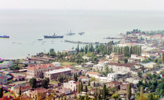 A general view of Sukhumi, Abkhazia and its bay, seen sometime around 1910 from Cherniavskii Mountain