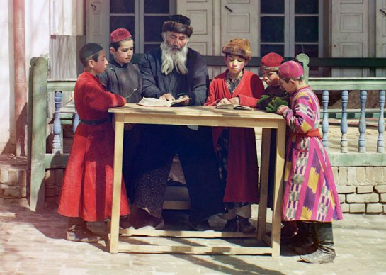 A group of Jewish children with a teacher in Samarkand, (in modern Uzbekistan), ca. 1910