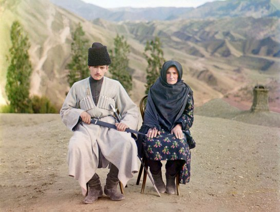 A man and woman pose in Dagestan, ca. 1910