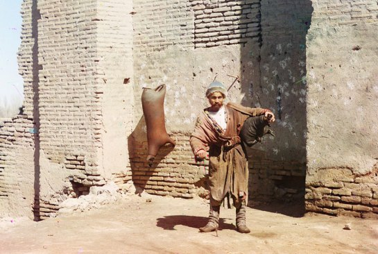 A water-carrier in Samarkand (present-day Uzbekistan), ca. 1910