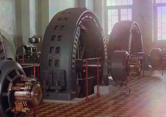 Alternators made in Budapest, Hungary, in the power generating hall of a hydroelectric station in Iolotan (Eloten), Turkmenistan, on the Murghab River, ca. 1910