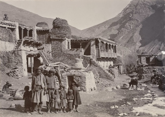 Group of men and Children at a village Near Keylong, Lahaul and Spiti District, Himachal Pradesh - c1903
