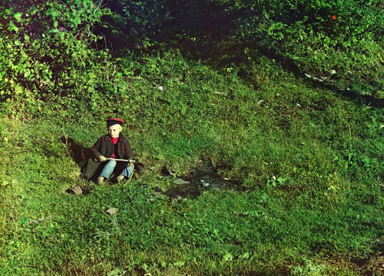 "On the Sim River, a shepherd boy. Photo taken in 1910, from the album ""Views in the Ural Mountains, survey of industrial area, Russian Empire"""