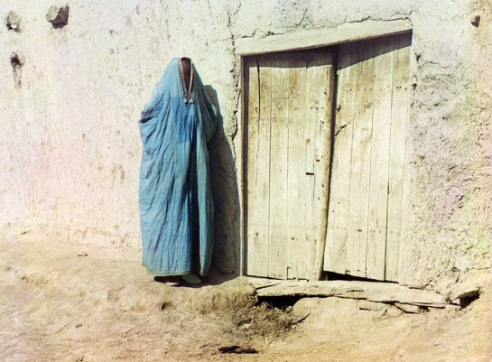 "Sart woman in purdah in Samarkand, Uzbekistan, ca. 1910. Until the Russian revolution of 1917, ""Sart"" was the name for Uzbeks living in Kazakhstan"