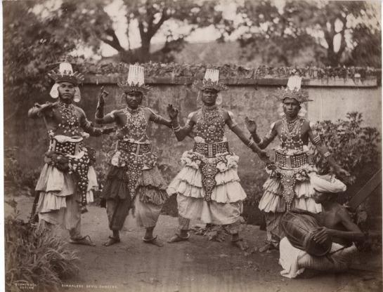 SINHALESE DEVIL DANCERS - Ceylon (Sri Lanka) c1890's