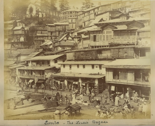 Street and Lower Bazaar at Simla 1890's